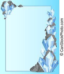 Precious Stones and Rock Frame Vector Illustration