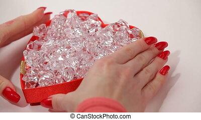 Precious stones are in the gift box