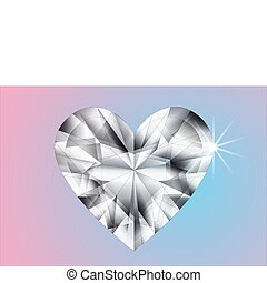 Precise white heart diamond illustration on pink and blue...