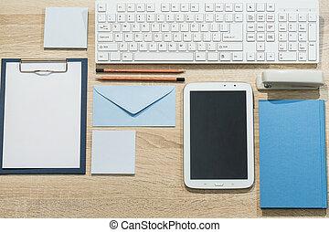 precisely, organizado, escrivaninha
