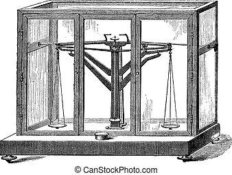 Precision Balance, vintage engraving
