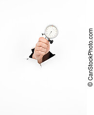 precision - close-up of male hand holding an indicator clock...