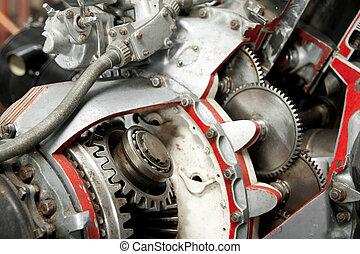 precision mechanics inside a vintage aircraft engine