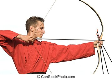 Precision - Young male archer aiming with perfect geometry,...