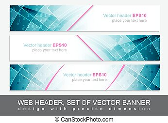 preciso, conjunto, banner., encabezamiento, vector, diseño,...