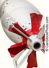 preciso, recorte, conducción, imagen, -, aislado, sistema, torpedo, tg-53, plano de fondo, equipado, flaps., blanco, path., propulsores, fotografía