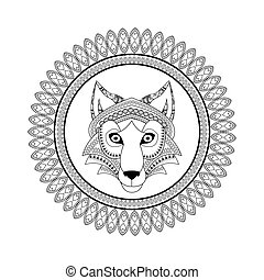 predador, lobo, icon., animal, ornamental, design.