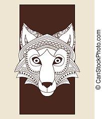 predador, lobo, icon., vetorial, animal, ornamental, design., graphi