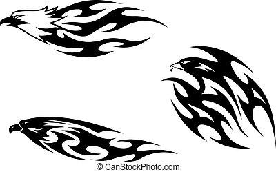 Predator birds tattoos for design. Vector illustration