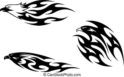 Predator birds tattoos for design. Vector illustration