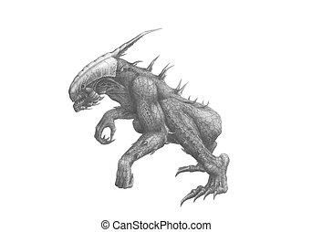 Predator - Black and white picture alien predator
