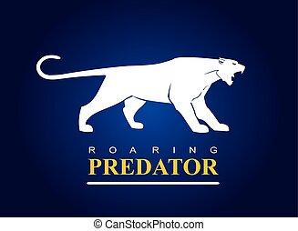 predator., brüllen, puma, jaguar, panther.