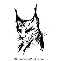 predator., cat., mano, lynx., negro, salvaje, blanco, drawn.