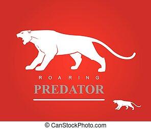 predator., destemido, rugindo, puma, panther.