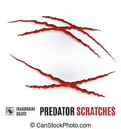 Predator Scratches - Animal Red Scratches on White...