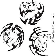 Predator wolf head tattoos