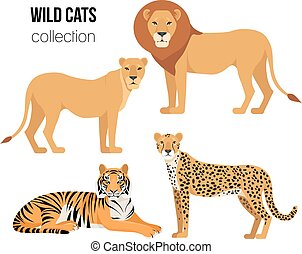 Vector Set of cartoon Wild Cats isolated on white
