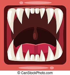 Predatory jaws of a fantastic horrible scary monster with slime, drooling, green mucus