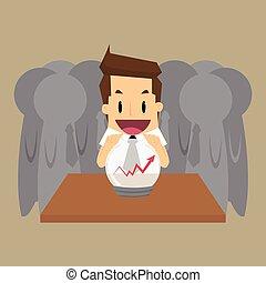 predecir, hombre de negocios, futuro, empresa / negocio,...