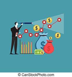prediction., concept., crescita, affari