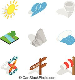 Prediction icons set, isometric style - Prediction icons...