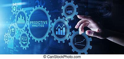 predictive, concept, business, grand, moderne, screen., analyse, données, analytics, virtuel, internet, intelligence, technologie