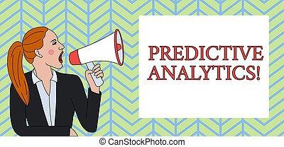 predictive, foto, mulher, identificar, loudhailer, escrita,...