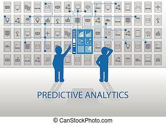predictive, ilustração, analytics