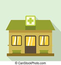 predios, ícone, hospitalar, estilo, apartamento
