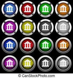 predios, ícones escritório, botões, pretas, lustroso, fundo, branca, redondo, banco