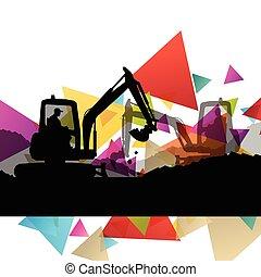 predios, abstratos, local, ilustração, tratores, vetorial, escavadores, fundo, escavadoras, construção, cavadores