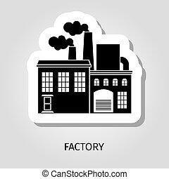 predios, adesivo, pretas, fábrica