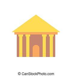predios, antiga, Palácio, isolado, colunas, Grego, arquitetura, Templo