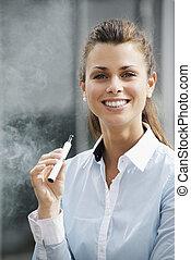 predios, ao ar livre, escritório, fumante, olhando jovem, ...