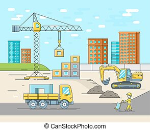 predios, apartamento, casa, local, ilustração, style., vetorial, magra, construção, linha