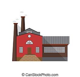predios, apartamento, entrada, porta industrial, architecture., antiquado, gás, fábrica, ilustração, isolado, experiência., vetorial, canos, fachada, emitir, branca, fabricando, style., caricatura