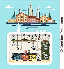 predios, apartamento, industrial, antigas, -, fábrica, vetorial, producao, desenho, interior, linha
