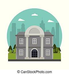 predios, banco, fachada, coluna, árvore, projeto urbano
