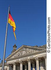 predios, bandeira alemã, alemanha, berlim, frente, reichstag
