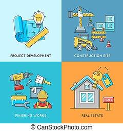predios, bens imóveis, habitação, engenharia, acabamento, trabalhos, construção, concepts.