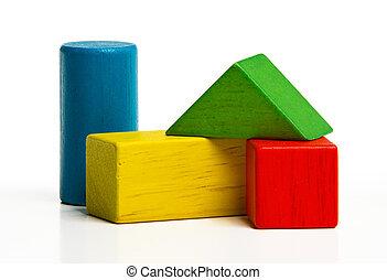 predios, brinquedo, madeira, sobre, blocos, tijolos, multicolor, construção, fundo, branca