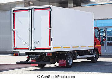 predios, caminhão, Recipiente