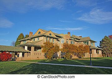 predios, campus universidade, foliage, outono