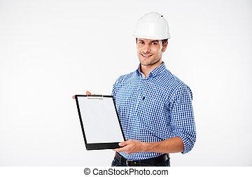 predios, capacete, construtor, jovem, alegre, área de transferência, segurando, em branco, homem