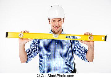 predios, capacete, nível, construtor, jovem, segurando, homem, espírito, feliz