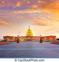 predios, capitol, congresso, c.c. washington, nós, pôr do sol