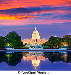 predios, capitol, congresso, c.c. washington, pôr do sol