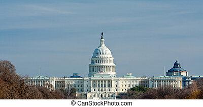predios,  capitol, EUA,  Washington,  DC, nós, Inverno