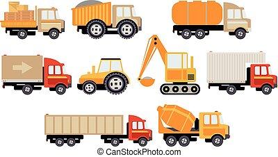 predios, carga, caminhões, jogo, grande, ilustração, equipamento, vetorial, construção, transporte