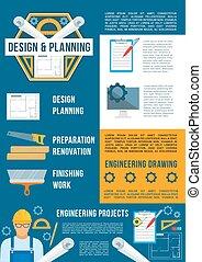 predios, cartaz, indústria, construção